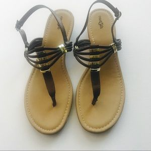 East 5th Leather Brown & Gold Wedge Sandals Sz 11